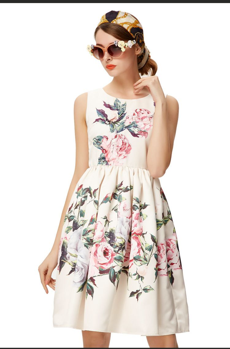 Click to buy ucuc new summer flower print sleeveless ball gown