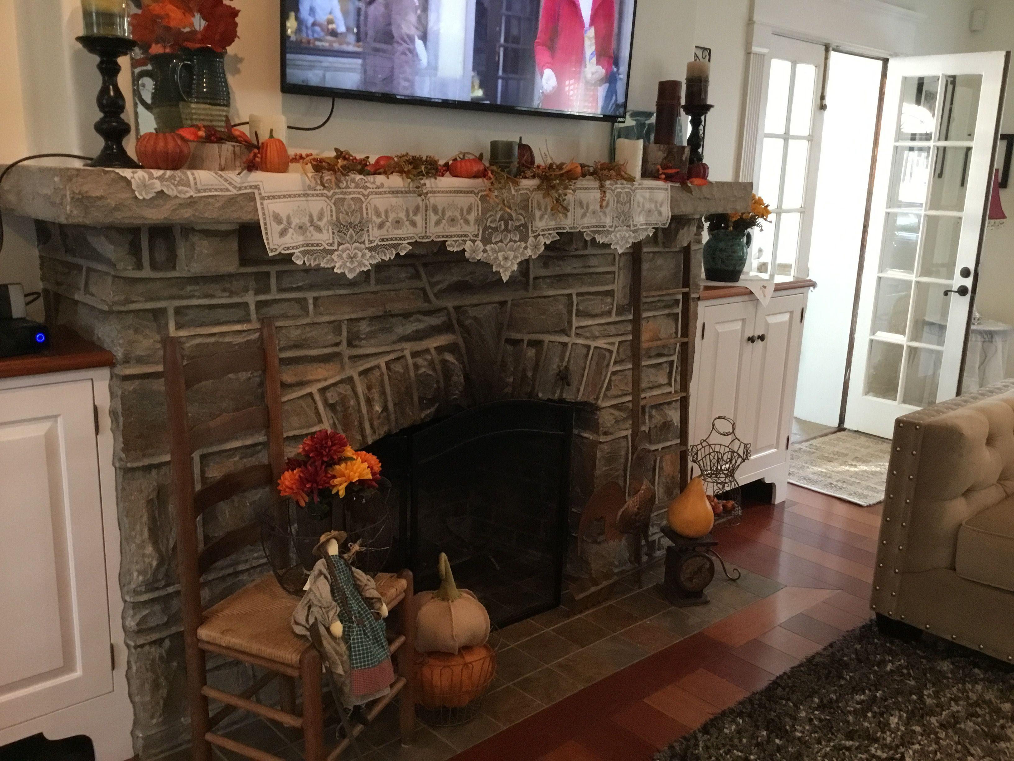 Autumn fireplace mantel fireplace mantels pinterest fireplace