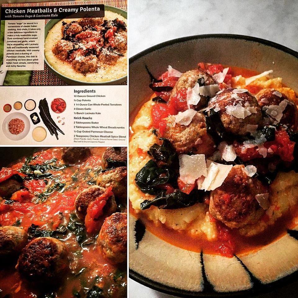 Blue apron kale - Blueapron Chicken Meatballs Creamy Polenta With Tomato Sugo Lacinato Kale