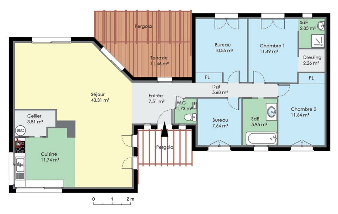 Plan de maison contemporaine de plain pied plan maison l for Plan maison u
