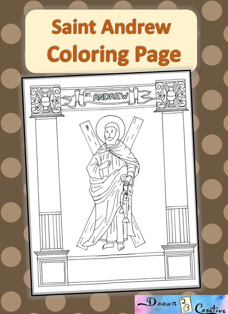 a coloring page of saint andrew with a beautiful boarder of columns