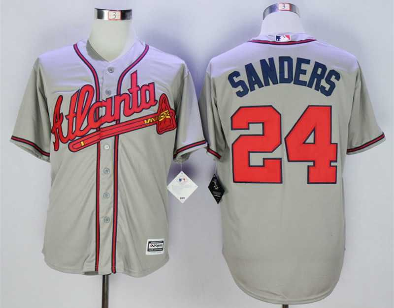fd4bbfe66 Men s Atlanta Braves  24 Deion Sanders Grey New Cool Base Jersey ...