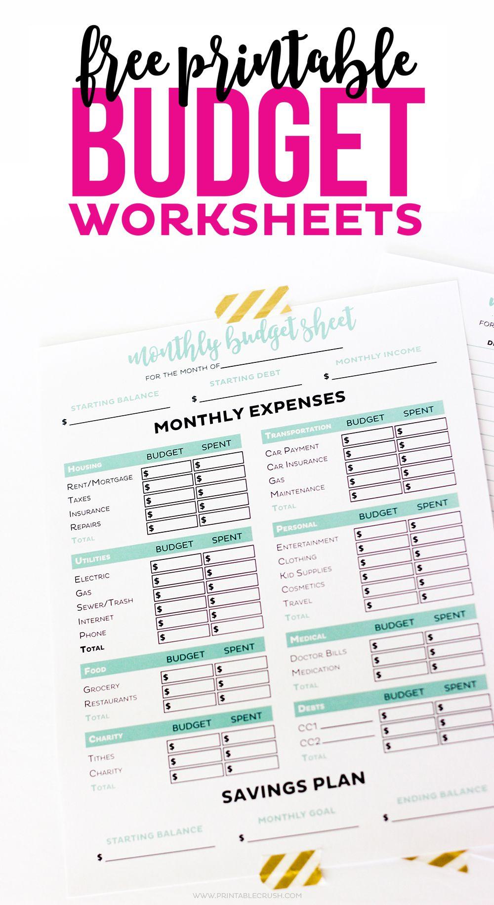 Simple FREE Printable Budget Worksheets