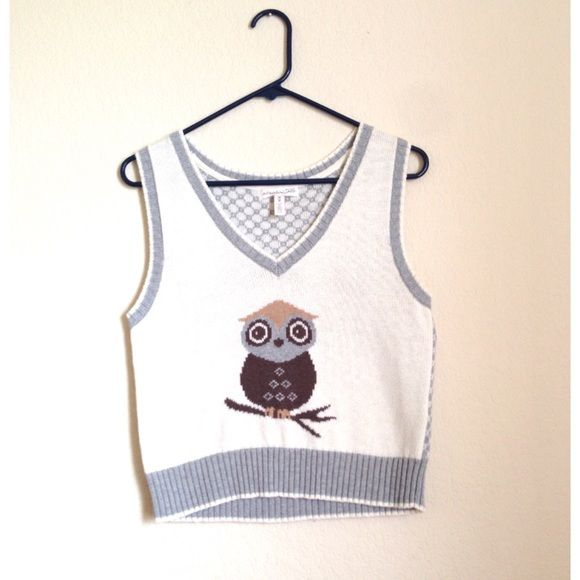 Aeropostale Sweaters - Owl sweater vest in cream and light grey ...