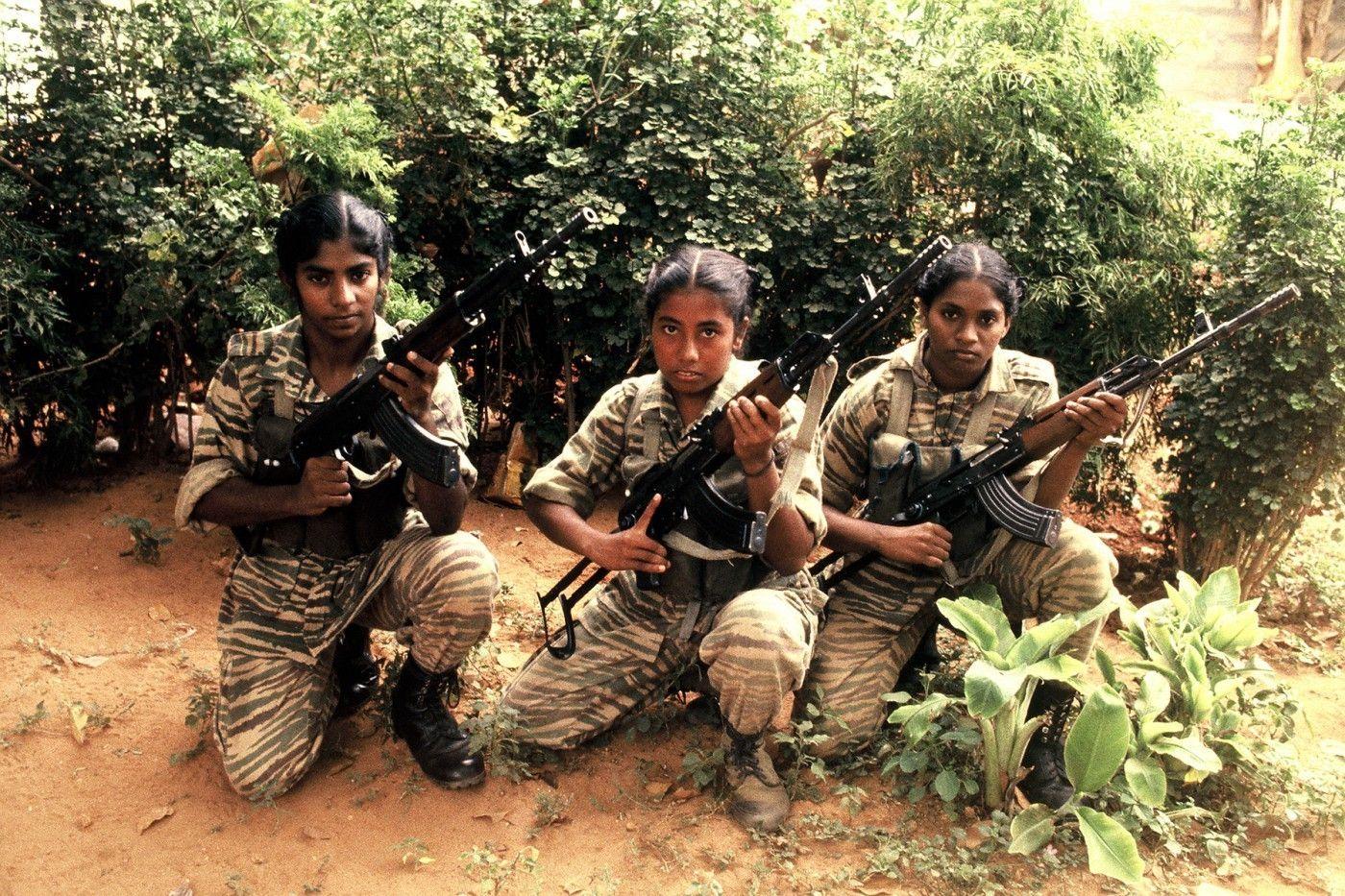Three Tamil Tiger soldiers in Jaffna
