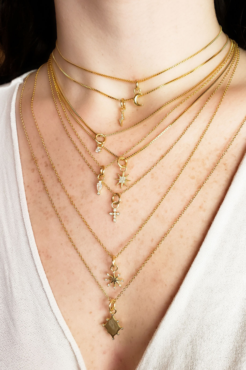 Build Your Perfect Necklace Stack Shop Gold Necklace Layers At Wholesale Pricing In 2021 Chunky Gold Necklaces Gold Pendant Necklace Cable Necklace