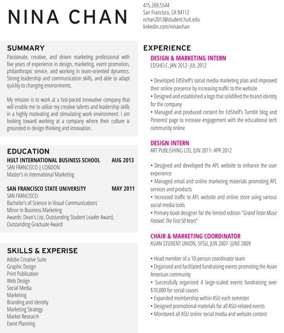 nina chan resume  resume  design  marketing