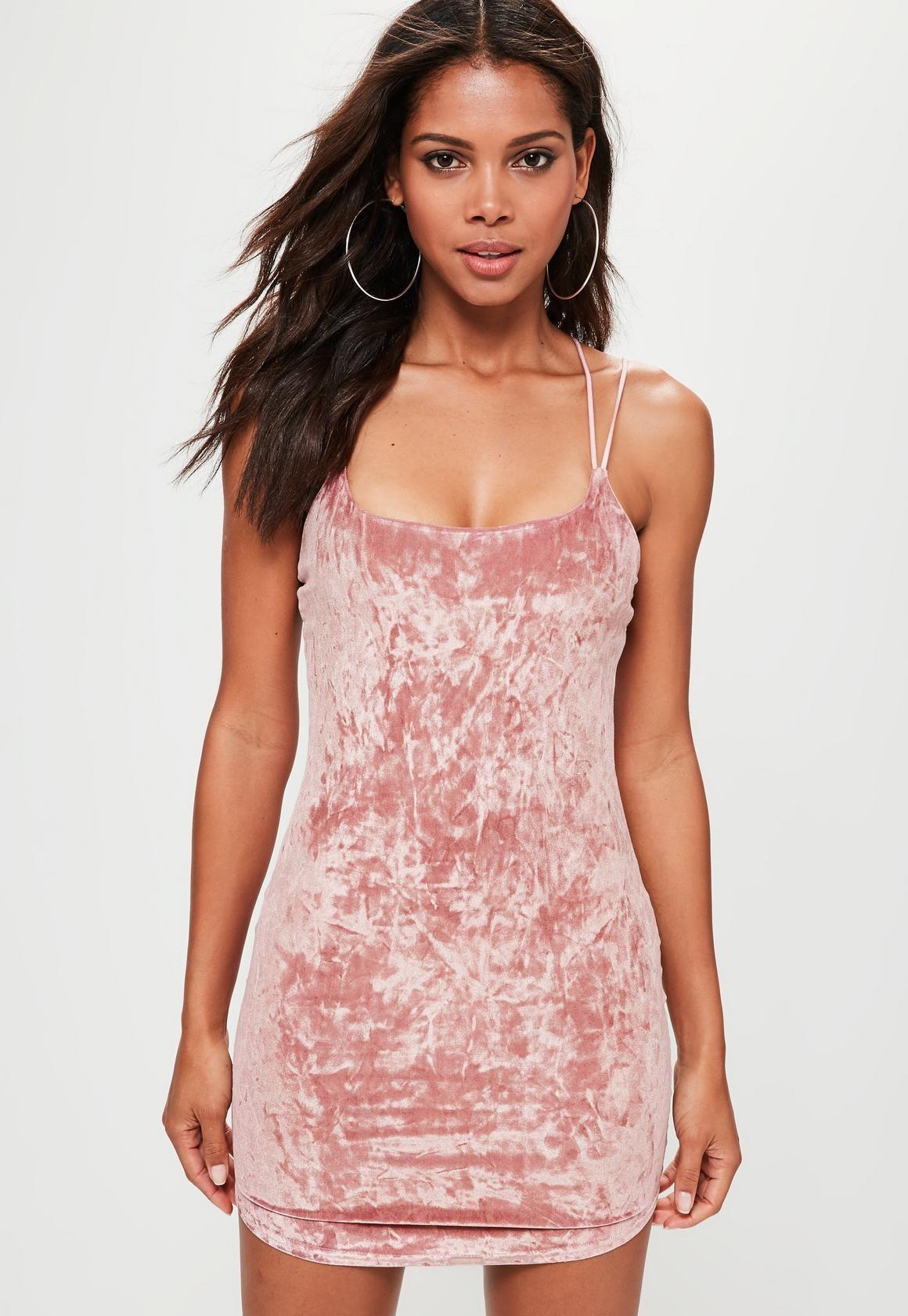 b83d42e2445 Missguided - Pink Multi Cross Strap Velvet Bodycon Dress
