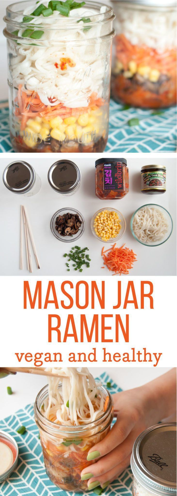 Jar Ramen -- This vegan ramen recipe is perfect for lunch on the go. The toppings and flavors are endless; allowing you to get real creative with your meal! Add tons of vegetables for a healthy lunch option you can take to work with you. - mindfulavocado