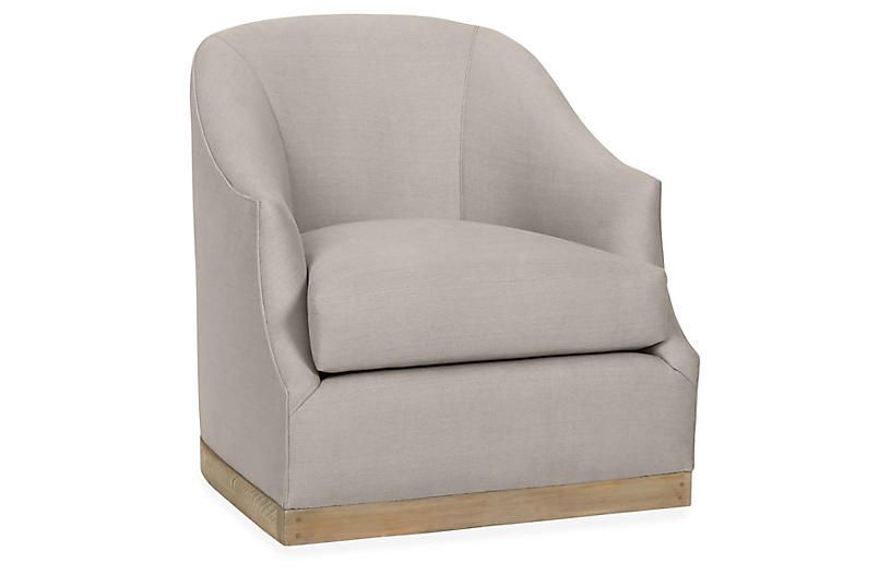Strange One Kings Lane Brooke Swivel Club Chair Gray Linen Squirreltailoven Fun Painted Chair Ideas Images Squirreltailovenorg