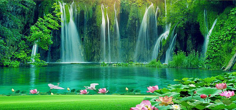 Landscape Paintings Waterfall Background Beautiful Nature Wallpaper Photoshop Backgrounds Free