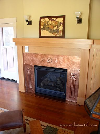 Copper Fireplace Surround With Embossing