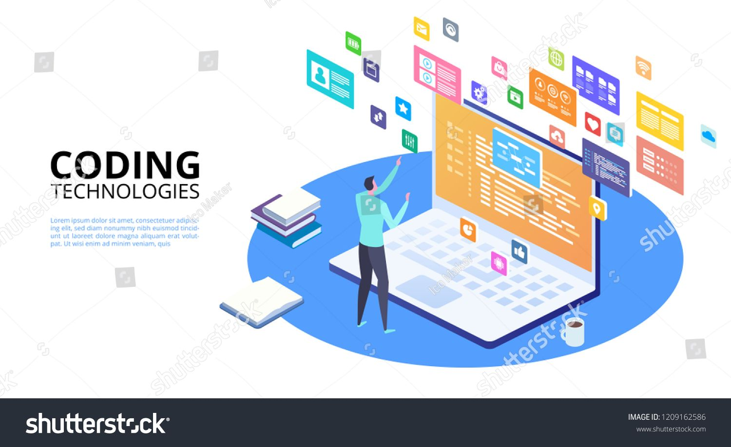 Developing Programming And Coding Technologies Concept Isometric