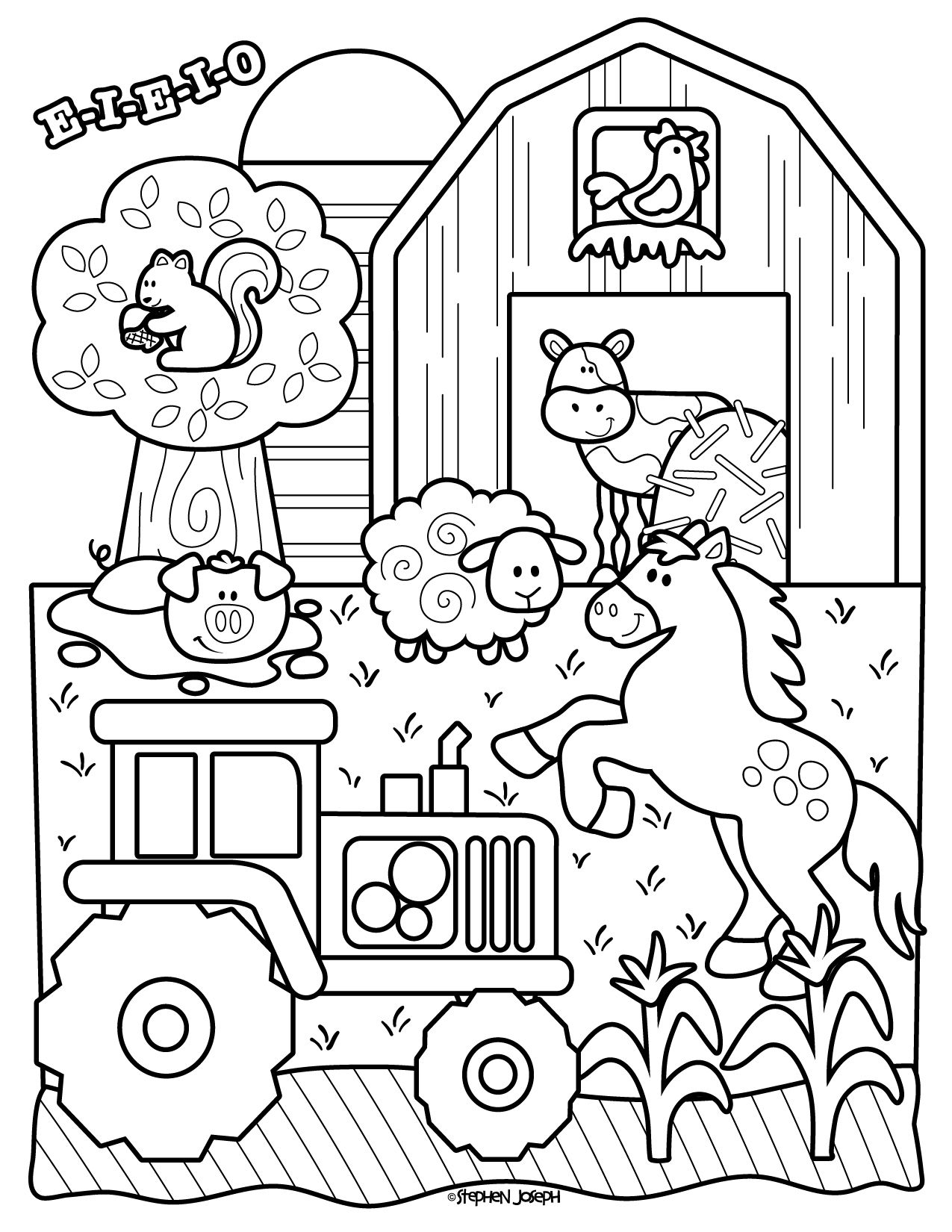 Farm Coloring Page Printable Free By Stephen Joseph Gifts