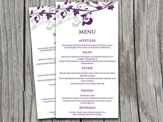 Wedding Menu Card Microsoft Word Template Whimsical Vines - card word template
