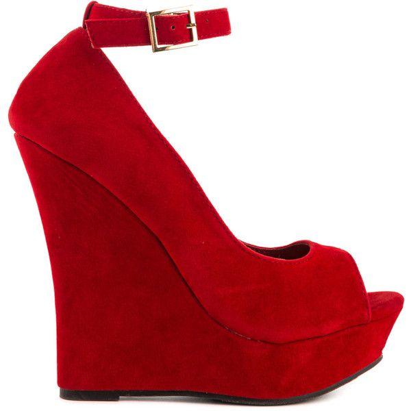 womens red wedge heels