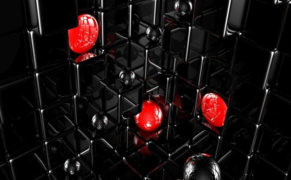 Red Balls In The Black Cubes Hd Wallpaper Hd Wallpapers 3d Red Ball Wallpaper
