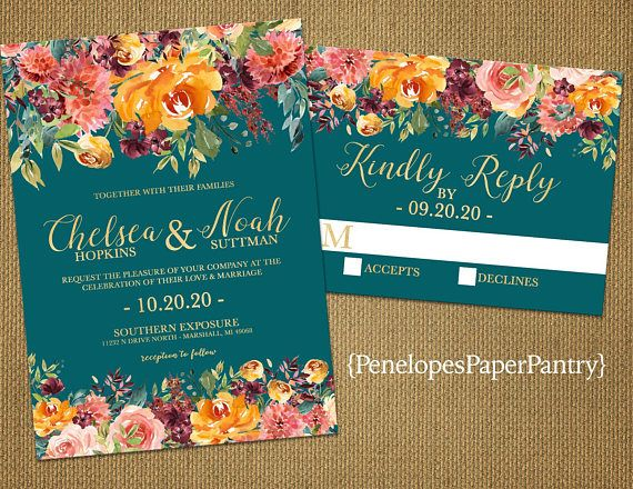 Elegant Teal Fall Wedding Invitationburgundypaprikaburnt Orange Colors Sets