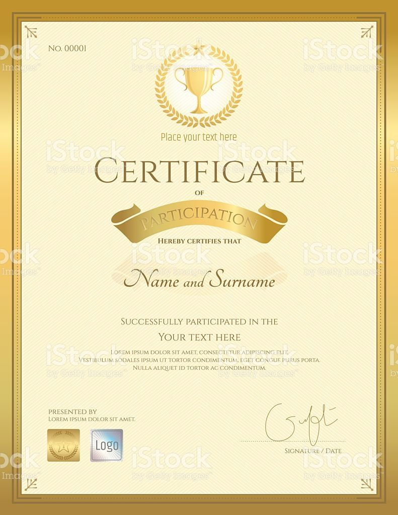 portrait certificate of participation in gold theme with