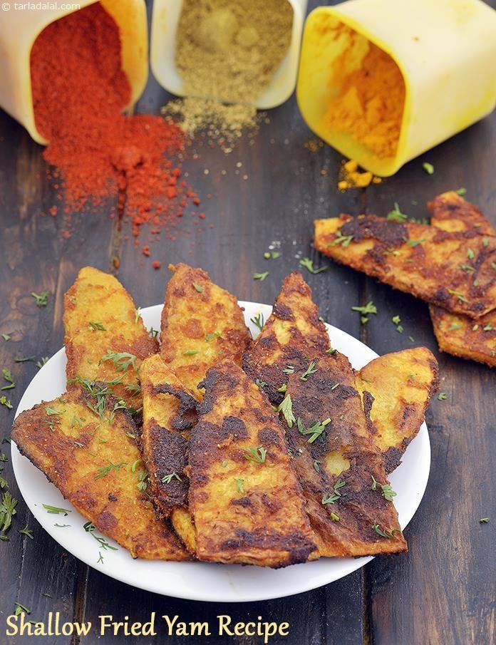 Shallow Fried Yam Recipe Suran Snack Recipe Yams Recipe Recipes Indian Food Recipes Vegetarian