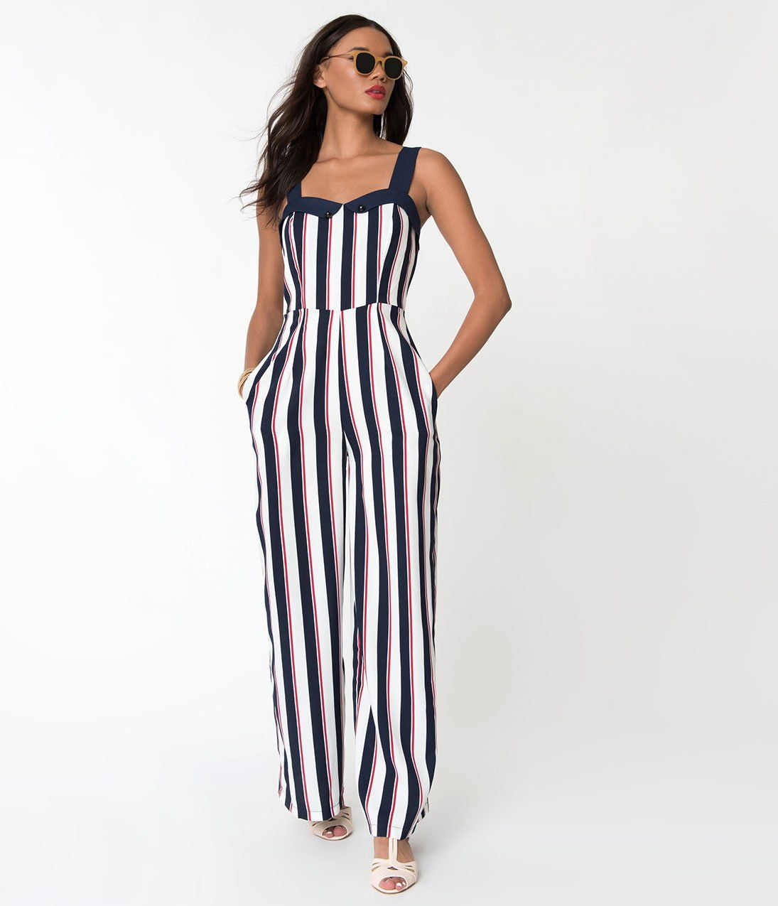 acda4a20d0d2 1930s Wide Leg Pants and Beach Pajamas Banned Red White Blue Striped Set  Sail Sleeveless Crepe Jumpsuit  78.00 AT vintagedancer.com