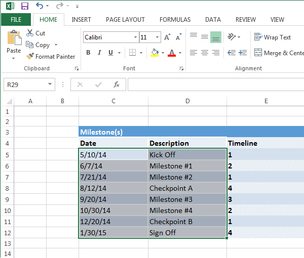 Excel Timeline Template  Career  Event Planning