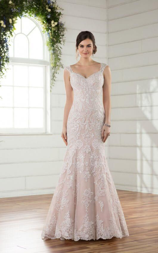 Beaded Fit and Flare Plus Size Wedding Dress with Silver Lace ...