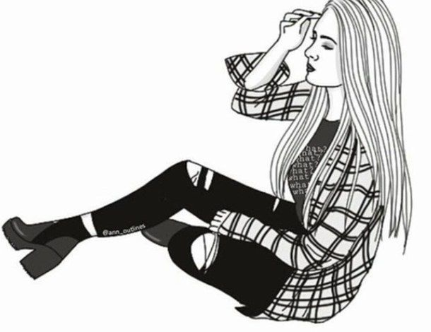 b&w, black and white, black&white, drawing, girl, outline, outlines