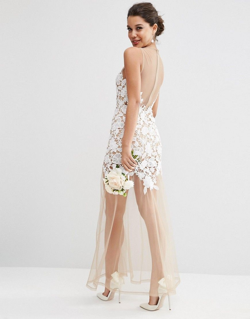 Image 2 Of ASOS BRIDAL Lace Placed Maxi Dress On Naked Mesh