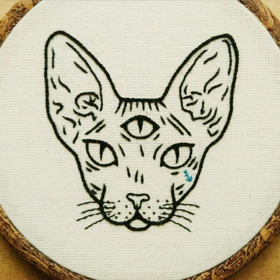 Three Eyed Sphynx Cat Hand Embroidery Hoop Art Embroidery Wall Hanging Tattoo Patch Cat Tattoo Sphynx Cat Tattoo Embroidery Art
