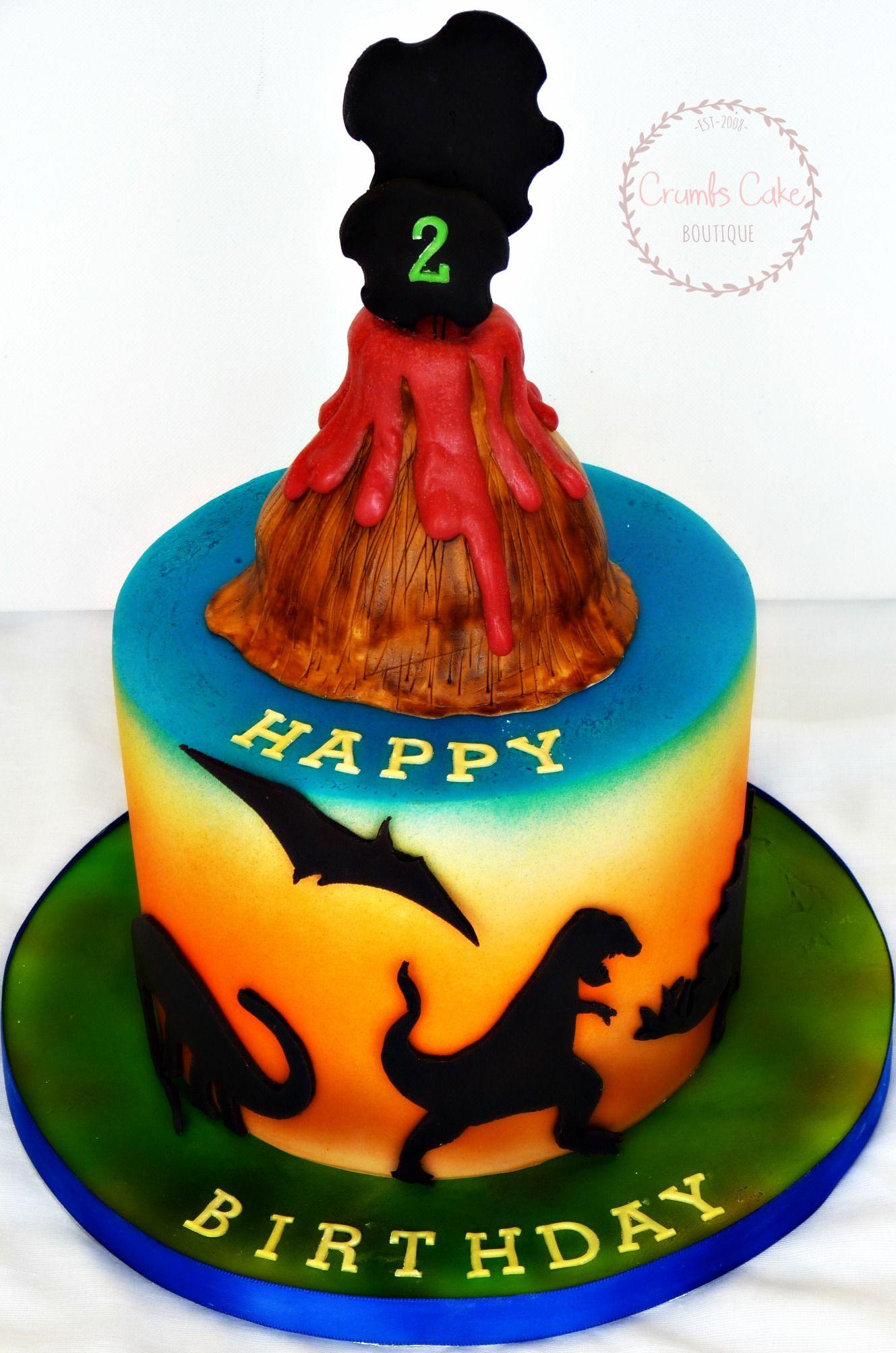 Dinosaur Themed Birthday Cake Fondant Silhouettes Fondant Volcano