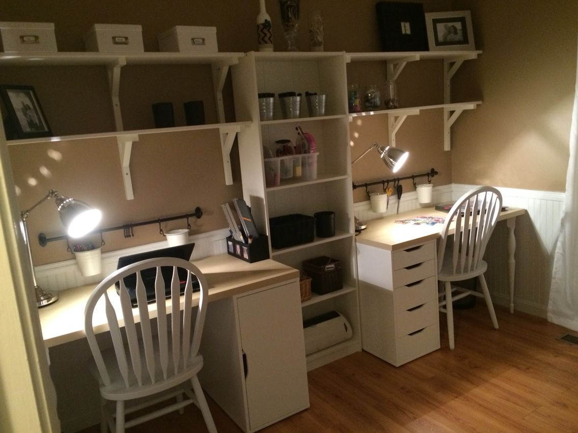 home office craft room. Home Office/craft Room Using IKEA Furniture. LINNAMON Table Top, ALEX Drawers, Office Craft