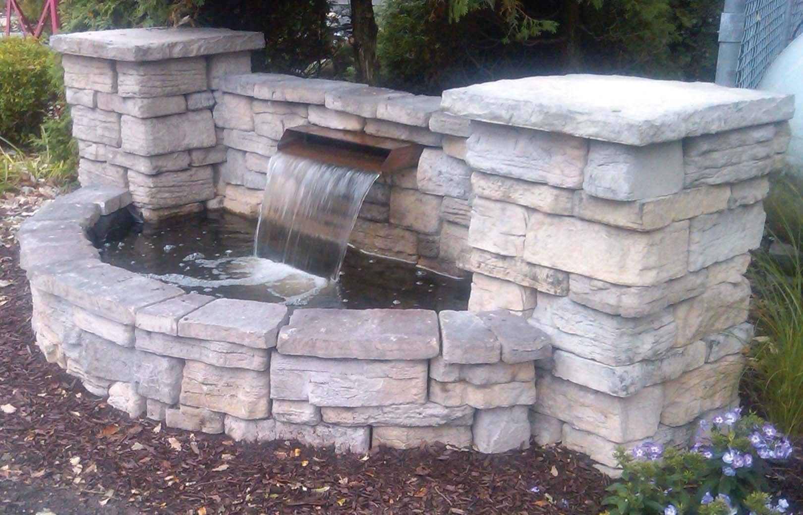 Brick double basin small waterfall double click on above for Small garden ponds with waterfalls