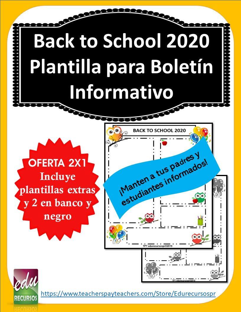 Back To School 2020 Plantilla 2x1 De Boletin Informativo De Buhos Newsletter Teacher Pay Teachers Back To School Teachers Pay Teachers