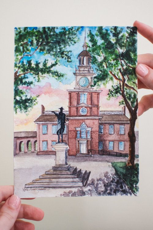 "Lydia Marie Elizabeth Philadelphia Independence Hall, LME City Series 5"" x 7"" Watercolor Original"