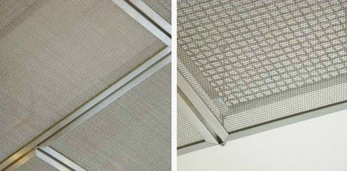 ceiling panels bldg lobby banker wire 500x246 Woven and Welded Wire Mesh from Banker Wire - could I duplicate tile look using stretched linen?