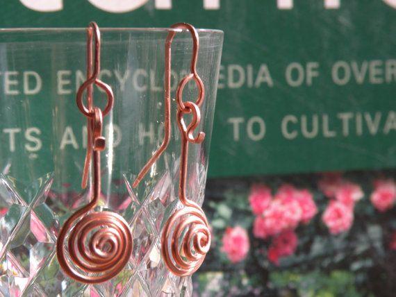 Copper Earrings Whirly Gig Swirled Copper Earrings by BGPainter, $12.00