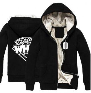 DOCTOR WHO Winter Mens Thicken Fleece Jacket Sweatshirts Hoodie Zipper Coat