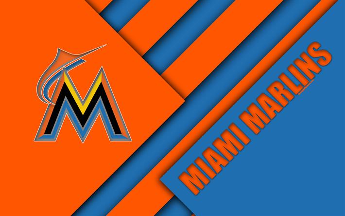 Herunterladen Hintergrundbild Miami Marlins Mlb 4k Ost Teilung Blau Orange