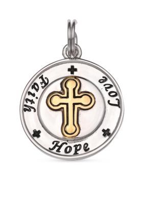 Belk Silverworks Silver Fine Silver Plate Faith Hope Love Disc Charm