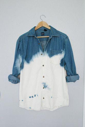 shirt blue white dip dyed jeans tie dye blue shirt white shirt bag