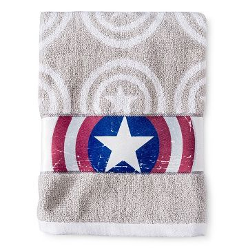 Captain America Bath Towel Gray Marvel Gray Towels Marvel