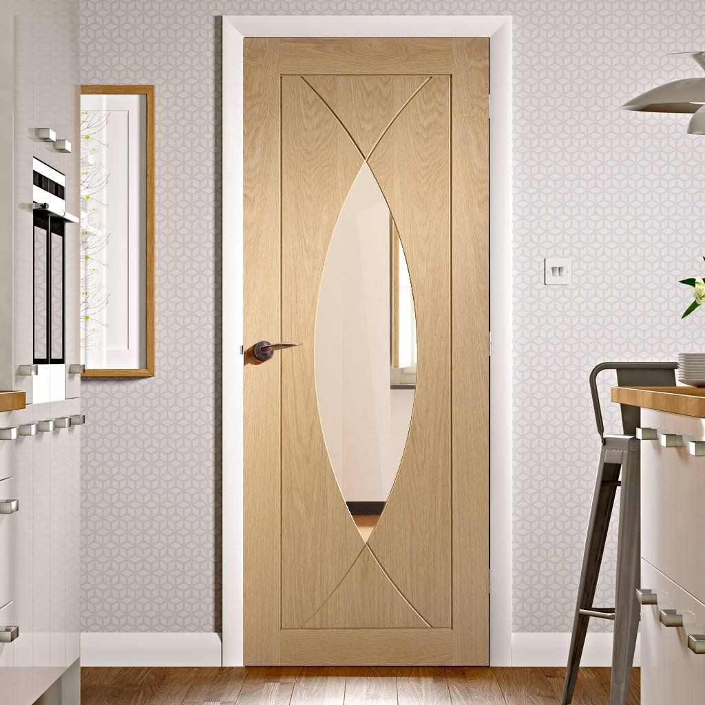 Fire Rated Pesaro Oak Door Clear Glass 1 2 Hour Fire Rated