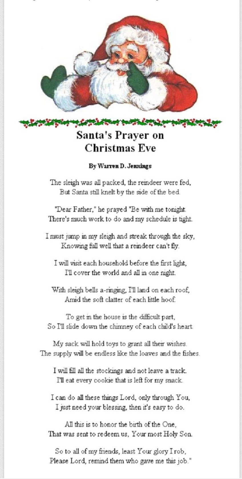 Santa Christmas, Christmas Eve Quotes, Christmas Meaning, Christmas Eve  Traditions, Prayer For