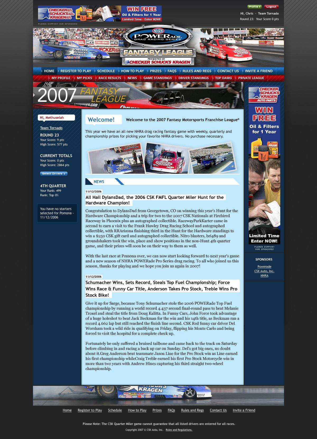 NHRA Fantasy Motorsports dsign for CSK Auto