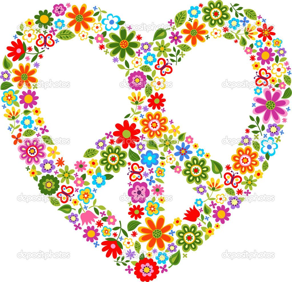 Heart peace symbol with floral pattern stock vector pauljune send hearts to mark the international day of peace buycottarizona
