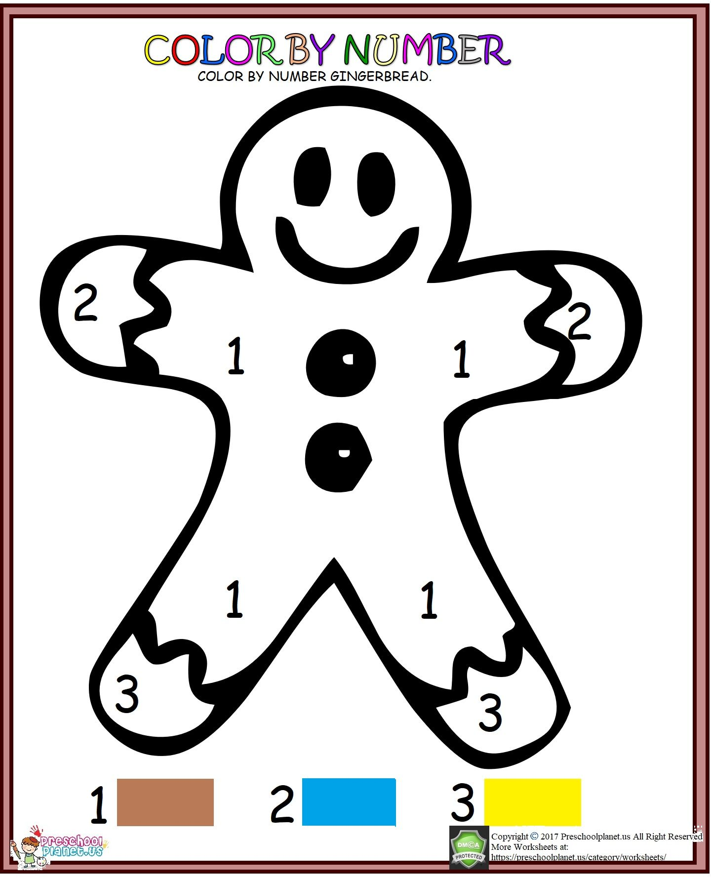 Color By Number Gingerbread Christmas Worksheet For Kids