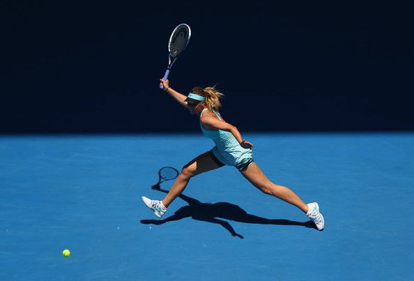 Maria Sharapova - Australian Open: Day 4.  Maria Sharapova of Russia plays a forehand in her second round match against Karin Knapp of Italy during day four of the 2014 Australian Open at Melbourne Park on January 16, 2014 in Melbourne, Australia.