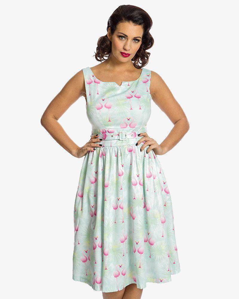 dbd9cc001c Delta  Pastel Flamingo Leaf Print Swing Dress