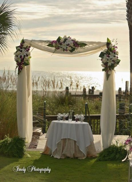 This arbor with white n purple flowers. Rust's is a round arbor. How would the draping look?